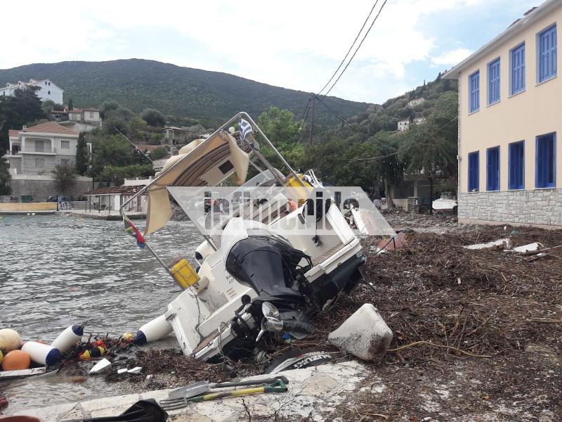 Η Ιθάκη μετρά τις πληγές της: Η κακοκαιρία σάρωσε το νησί- Βυθίστηκαν σκάφη, καταστήματα υπέστησαν ζημιές