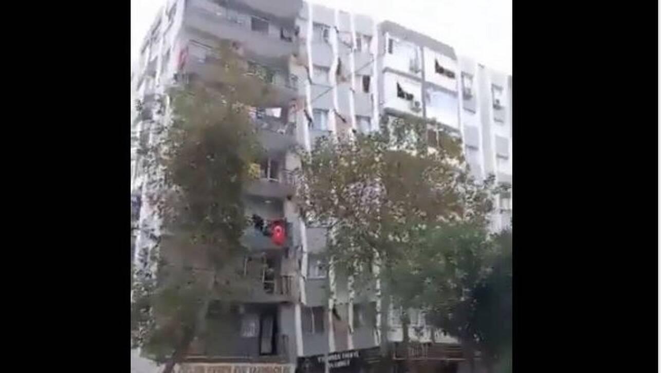 H στιγμή της κατάρρευσης του 13όροφου κτηρίου στη Σμύρνη (βίντεο)