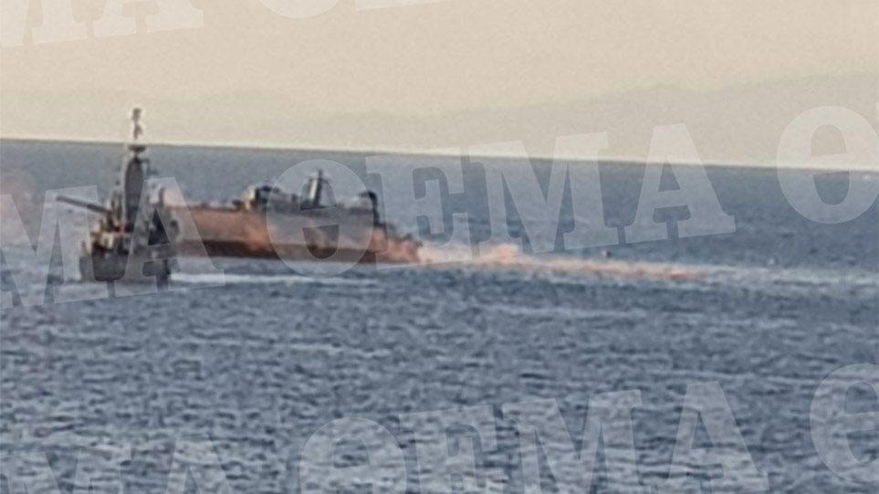 Κόπηκε στα δύο το «Καλλιστώ» του Πολεμικού Ναυτικού – Ρυμουλκείται στον Πειραιά