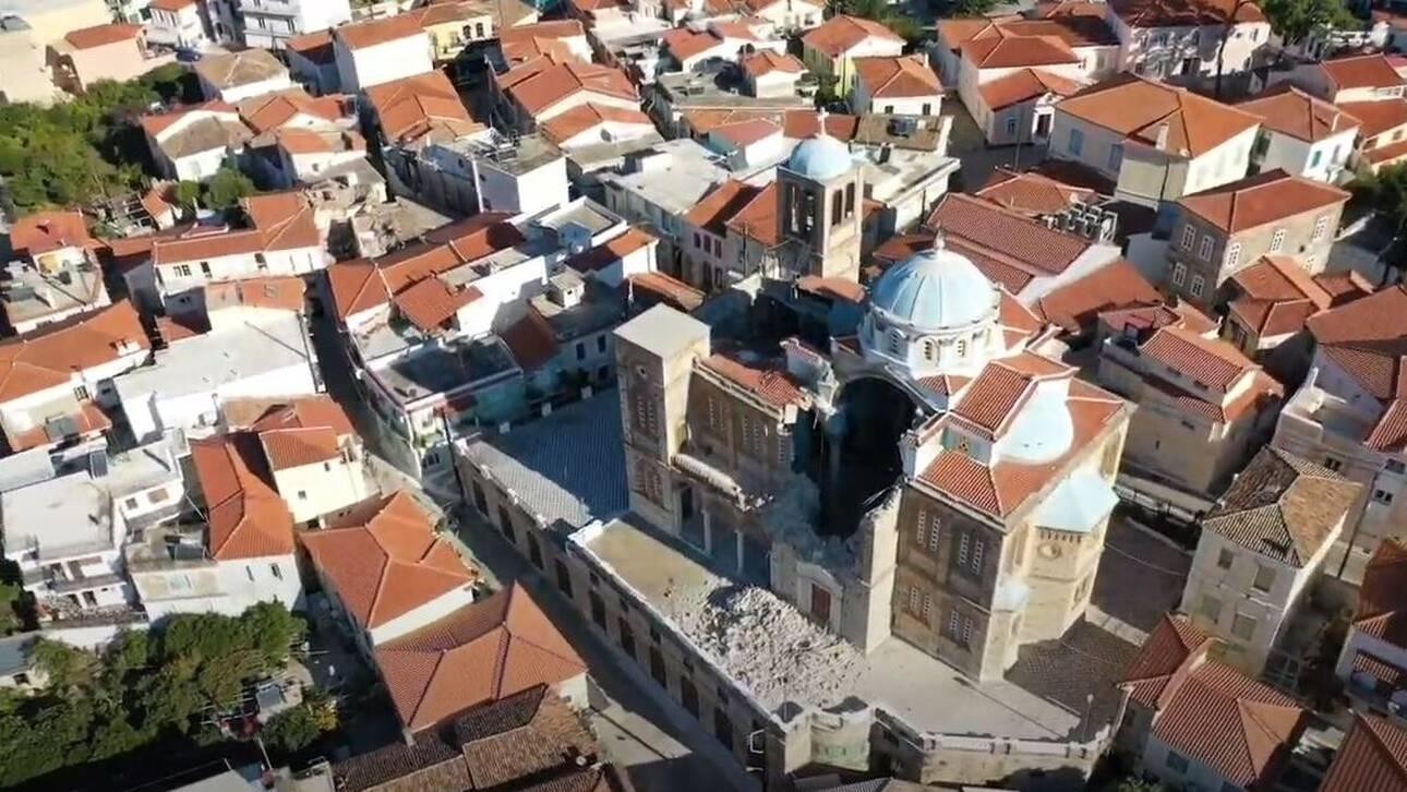 Συγκλονιστικές εικόνες από τη Σάμο: Η καταστροφή εκκλησίας στο Καρλόβασι από ψηλά