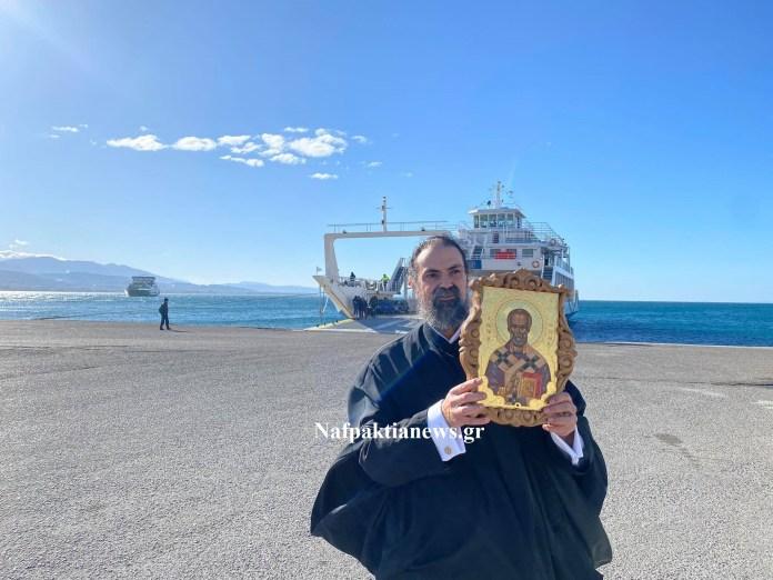 Συγκίνηση: Η εικόνα του Αγίου Νικολάου στα Ferry boat στο Αντίρριο (βίντεο)