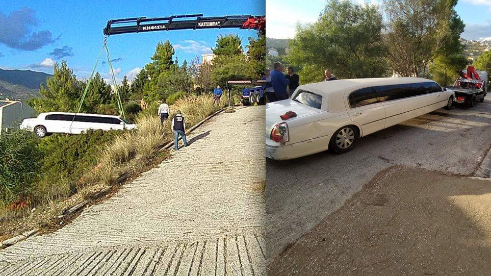 Απίστευτο ατύχημα στη Πεντέλη: Λιμουζίνα έφυγε στο γκρεμό! Αλώβητος βγήκε ο οδηγός