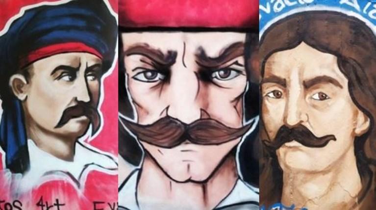 Mυστηριώδης γκραφιτάς ζωγραφίζει τοίχους της Αθήνας με τους ήρωες του 1821 [Eικόνες]