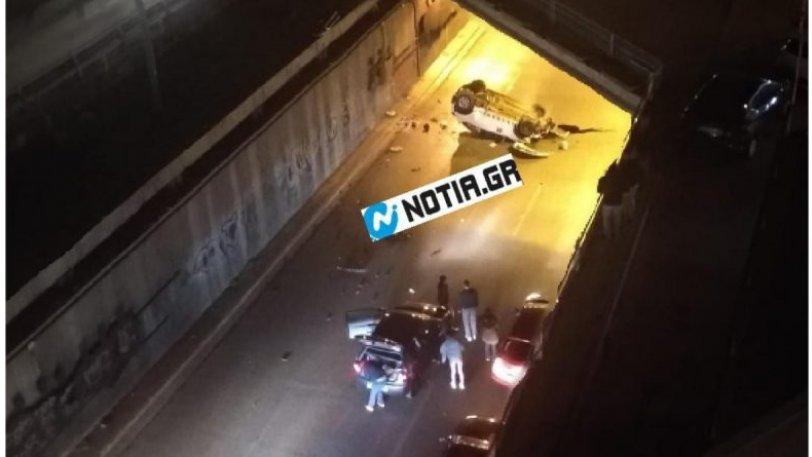 Αδιανόητο τροχαίο στην Συγγρού: Ι.Χ έπεσε από την γέφυρα, ο οδηγός δεν χρειάστηκε νοσοκομείο