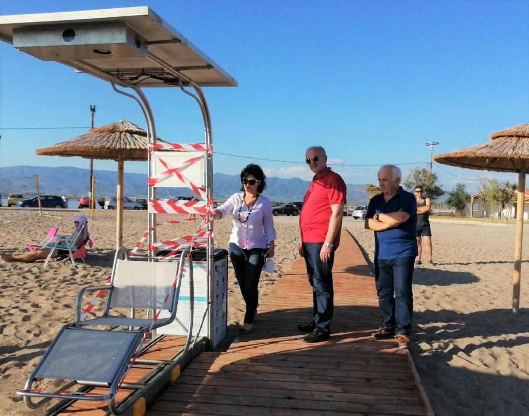 Εγκατάσταση Seatrac στην παραλία της Τουρλίδας, παρουσία της Μαρίας Σαλμά